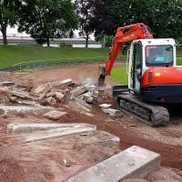 Sanierung der Laufbahn - Sportplatzsanierung Maschstadion - Bauphase